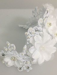cheap -Tulle Pearl Lace Flowers Wreaths Headpiece Classical Feminine Style