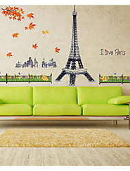 MJ9503 Free Shipping Eiffel Tower DIY Removable Wall Stickers Parlor Kids Bedroom Home Decor House Decoration
