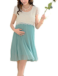cheap -Elegant Hot Sale Round Neck Lace / Pleated Maternity Dress,Cotton / Polyester Above Knee Short Sleeve