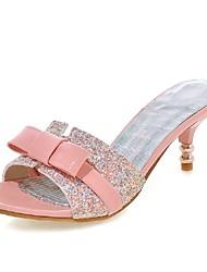 preiswerte -Damen Schuhe Glanz Lackleder Frühling Sommer Niedriger Absatz Schleife Paillette Für Hochzeit Kleid Party & Festivität Weiß Schwarz Rosa