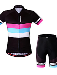 WOSAWE Cycling Jersey with Shorts Women's Short Sleeves Bike Sweatshirt Padded Shorts/Chamois Jersey Shorts Tops Clothing Suits Quick Dry