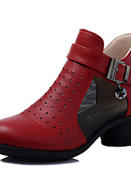 cheap -Modern Women's Dance Shoes Sneakers Breathable Leather Cuban Heel Black/Beige/Red