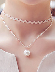 cheap -Women's Pearl Imitation Pearl Lace Black Pearl Choker Necklace Tattoo Choker Gothic Jewelry - Tattoo Style Fashion Double-layer Necklace