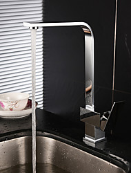 cheap -Contemporary Bar/Prep Centerset Rotatable Ceramic Valve Single Handle One Hole Chrome , Kitchen faucet