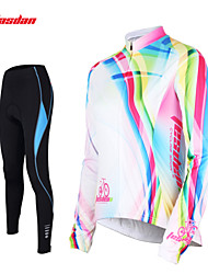 TASDAN Cycling Jersey with Tights Women's Long Sleeves Bike Pants/Trousers/Overtrousers Jersey Tights Sleeves Tops Clothing Suits Quick