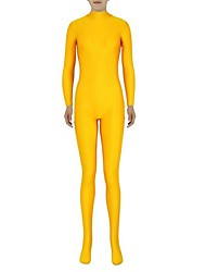 cheap -Zentai Suits Ninja Zentai Cosplay Costumes Yellow Solid Colored Leotard / Onesie Zentai Spandex Lycra Men's Women's Halloween