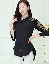 cheap -Women's Embroidery Solid White / Black Blouse,Shirt Collar ½ Length Sleeve