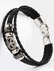 cheap -Three Layer Buckle Small Peace Sign Shape PU Leather Men's Bracelet