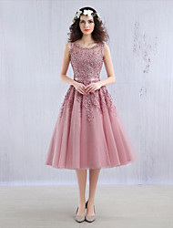 cheap -Ball Gown Illusion Neckline Tea Length Tulle Over Lace Cocktail Party / Homecoming Dress with Beading Sash / Ribbon by LAN TING Express