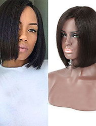 """Unprocessed 8""""16"""" Virgin Brazilian Natural Color Silky Straight bob Full Lace Wig Human Hair Lace Front Wigs"""
