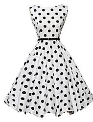 Trapèze / Patineuse Robe Femme Vintage,Points Polka Col Arrondi Mi-long Sans Manches Blanc / Noir Polyester Eté Taille Normale