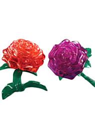 Недорогие -Пазлы 3D Пазлы / Кристалл головоломка Строительные блоки DIY игрушки Роуз ABS Серебристый Модели и конструкторы