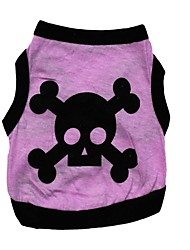 cheap -Cat Dog Shirt / T-Shirt Dog Clothes Breathable Casual/Daily Halloween Skull Gray Purple Coffee Green Costume For Pets