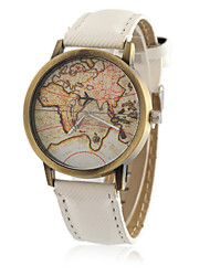 cheap -Men's Quartz Wrist Watch Cool / Casual Watch PU Band Vintage / Casual / World Map / Fashion Black
