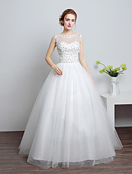 cheap -Ball Gown Scoop Neck Floor Length Lace / Satin / Tulle Made-To-Measure Wedding Dresses with Lace by LAN TING Express / Sparkle & Shine