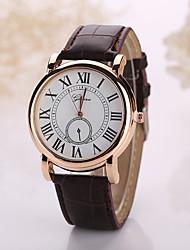 Homens Relógio de Pulso Quartzo Relógio Casual Couro Banda Preta Branco