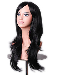 abordables -Pelucas sintéticas / Pelucas de Broma Rizado Con flequillo Pelo sintético Parte lateral Peluca Mujer Larga Sin Tapa