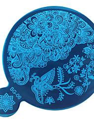 cheap -1PC DIY Blue Film Nail Art The Mirror Printing Template