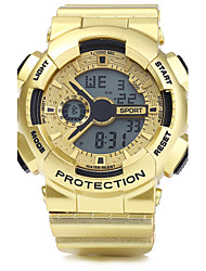 Недорогие -Муж. Спортивные часы Наручные часы Цифровой LED Календарь Секундомер Защита от влаги тревога PU Группа Серебристый металл Золотистый