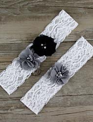2pcs/set Black And Grey Satin Lace Chiffon Beading Wedding Garter