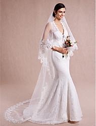 Romantic One-tier Lace Applique Edge Wedding Veil  Chapel Veils