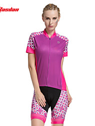 economico -TASDAN Maglia con pantaloncini da ciclismo Per donna Manica corta Bicicletta Pantaloncini imbottiti di protezione Manicotti Pantaloncini