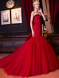 Fit & Flare Sweetheart Cathedral Train Satin Tulle Formal Evening Dress with Beading Bow(s) Pearl Detailing by QZ
