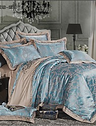 Duvet Cover Sets Floral 4 Piece Cotton Jacquard Cotton 1pc Duvet Cover 2pcs Shams 1pc Flat Sheet