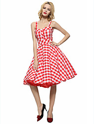 cheap -Maggie Tang Women's 50s VTG Retro Check Rockabilly Hepburn Pinup Business Swing Dress 537