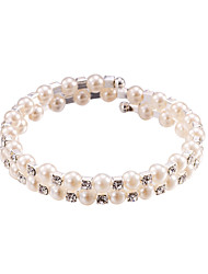 cheap -Pearl Crystal No Clasp Elastic Bangle Bracelet Jewelry (One Size for All)