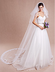Wedding Veil Two-tier Blusher Veils / Chapel Veils / Cathedral Veils Lace Applique Edge