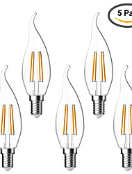 cheap -4W E14 LED Filament Bulbs C35 4 COB 380 lm Warm White 2700 K Waterproof Decorative AC 220-240 V