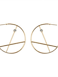 cheap -Women's Rhinestone Gold Plated Imitation Diamond Drop Earrings Hoop Earrings - Luxury Gold Circle Geometric Earrings For