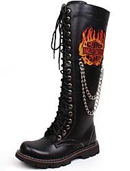 billige -Herre Sko Syntetisk Efterår / Vinter Komfort / Cowboy / Western Støvler / Ridestøvler Støvler Sort / Fest / aften / Motorcykel Støvler