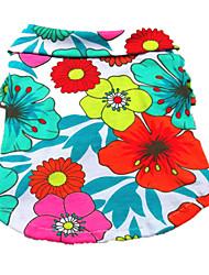 abordables -Chien Tee-shirt Vêtements pour Chien Floral / Botanique Arc-en-ciel Coton Costume Pour les animaux domestiques Homme Femme Vacances