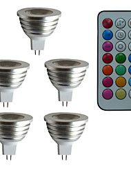 3W GU5.3(MR16) LED Spotlight MR16 1 High Power LED 300 lm RGB 6500~7000 K Dimmable Remote-Controlled Decorative DC 12 AC 12 V 5pcs