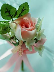 baratos -Bouquets de Noiva Forma-Livre Rosas Alfinetes de Lapela Casamento Festa / noite Algodão