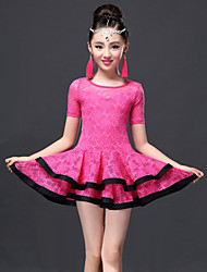 Danse latine Robes Enfant Spectacle Dentelle Viscose Dentelle 2 Pièces Robe Short