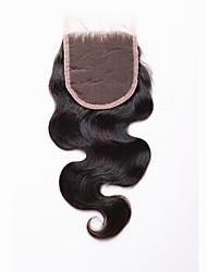 Недорогие -Естественные кудри Полностью ленточные 4x4 Закрытие 100% ручная работа Швейцарское кружево Натуральные волосы Бесплатный Часть Средняя