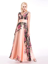 cheap -A-Line Queen Anne Floor Length Chiffon Prom Dress with Draping Side Draping by LAN TING Express