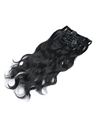 "15""-22"" 7pcs/set Clip in Human Hair Extensions Wavy Malaysian Hair Clip Ins Body Wave #1 Jet Black For"