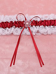 Garter Lace Polyester Flower Lace Burgundy