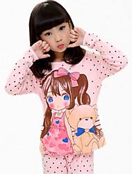 cheap -Girl's Pink / White Clothing Set,Cartoon Cotton All Seasons