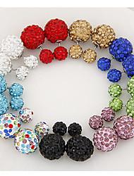 Women's Stud Earrings Double Sided Personalized European Costume Jewelry Rhinestone Imitation Diamond Alloy Jewelry For