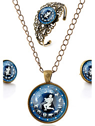 Lureme® Time Gem The Zodiac Series Vintage Aquarius Pendant Necklace Stud Earrings Hollow Flower Bangle Jewelry Sets