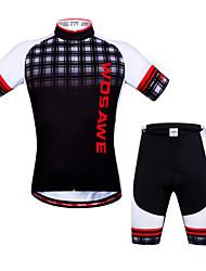 baratos -WOSAWE Camisa com Shorts para Ciclismo Unisexo Manga Curta Moto Pulôver Shorts braço aquecedores Shorts Acolchoados Camisa/Roupas Para