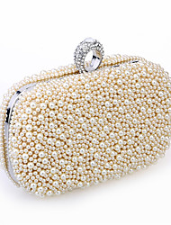 Women Bags All Seasons Metal Satin Evening Bag Beading Imitation Pearl Crystal/ Rhinestone for Wedding Event/Party Formal White Black
