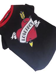 baratos -Cachorro Camiseta Roupas para Cães Coração Preto/Vermelho Algodão Ocasiões Especiais Para animais de estimação