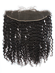 "8""-20"" Full Lace Kinky Curly Human Hair Closure Medium Brown / Dark Brown Swiss Lace gram Cap Size"