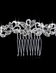cheap -Silver Crystal Pearl Hair Combs for Wedding Party Lady Jewelry